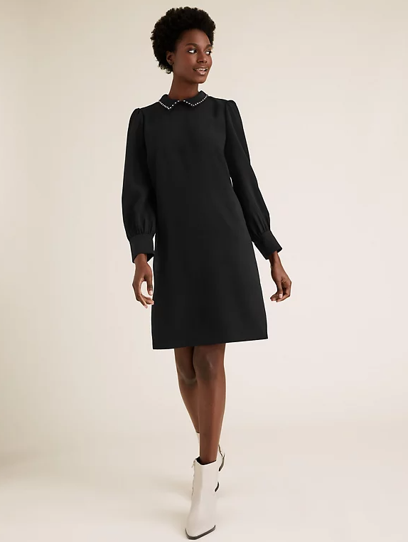 M&S Collection Collared Knee Length Shift Dress