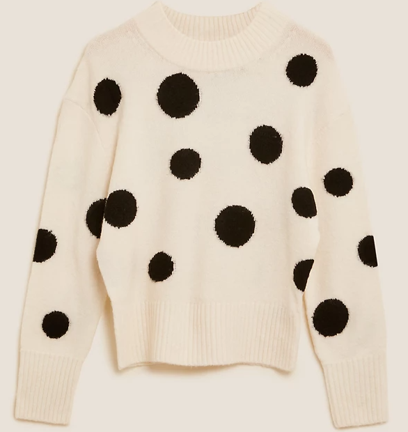 M&S Collection Polka Dot Crew Neck Jumper