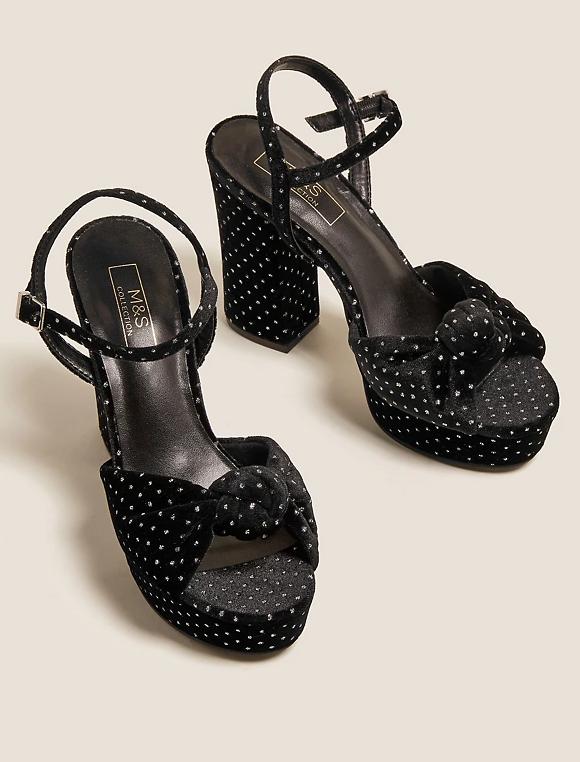 M&S Collection Velvet Knot Platform Sandals
