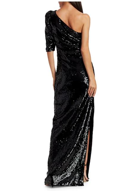 Rachel Gilbert Val Liquid Drape One-Shoulder Sequin Gown back view