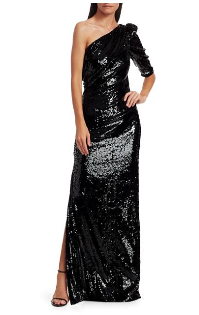 Rachel Gilbert Val Liquid Drape One-Shoulder Sequin Gown
