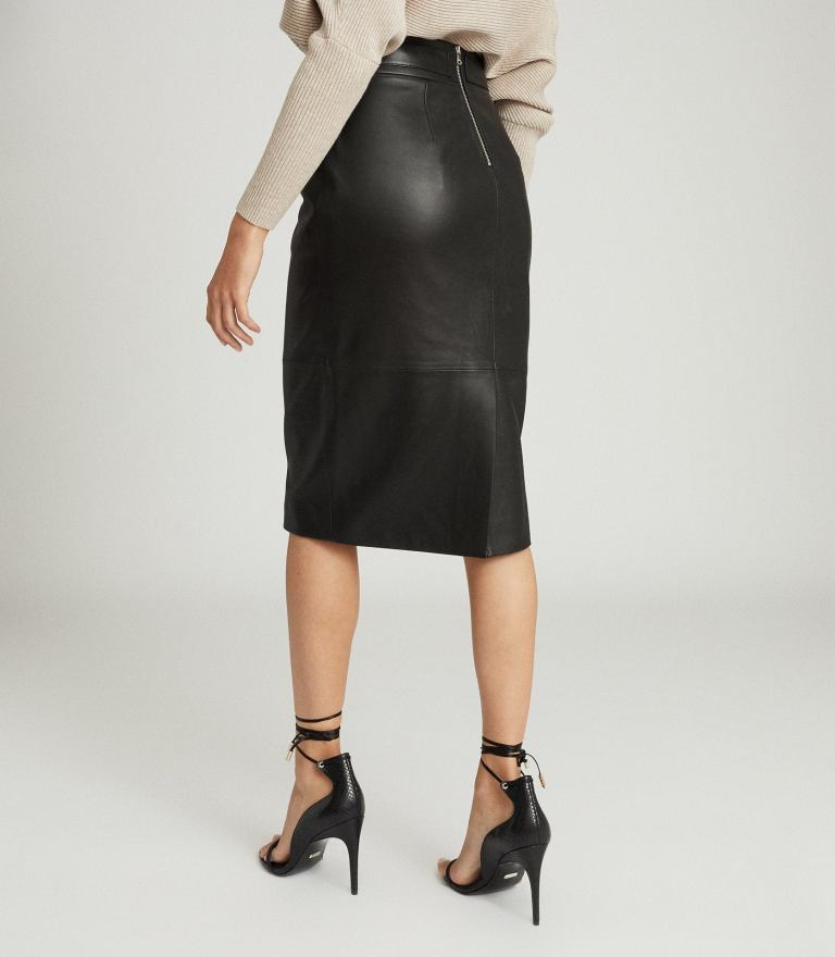 Reiss Kali Leather Pencil Skirt back view