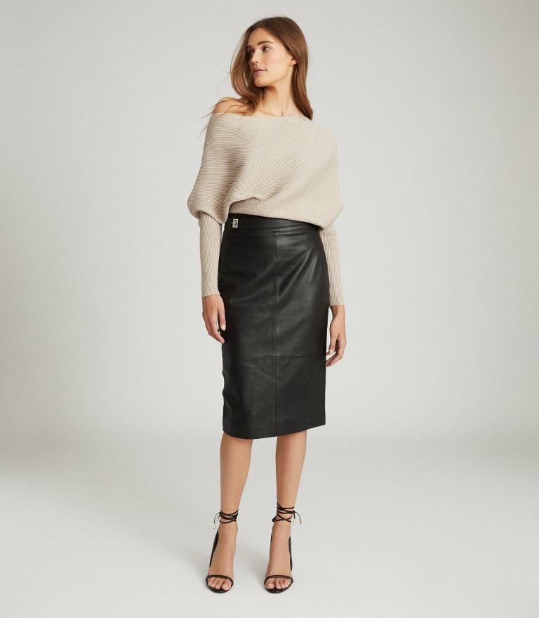 Reiss Kali Leather Pencil Skirt