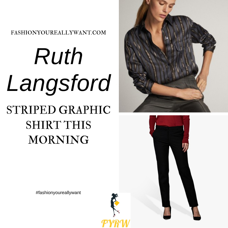Where to get all Ruth Langsford This Morning outfits blog November 2020 black striped shirt black trousers black stud court shoes