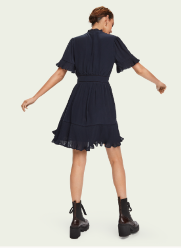 Scotch & Soda Pleated short sleeve mini dress back view