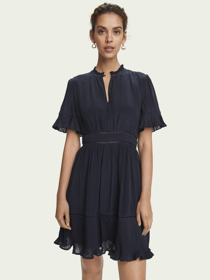 Scotch & Soda Pleated short sleeve mini dress