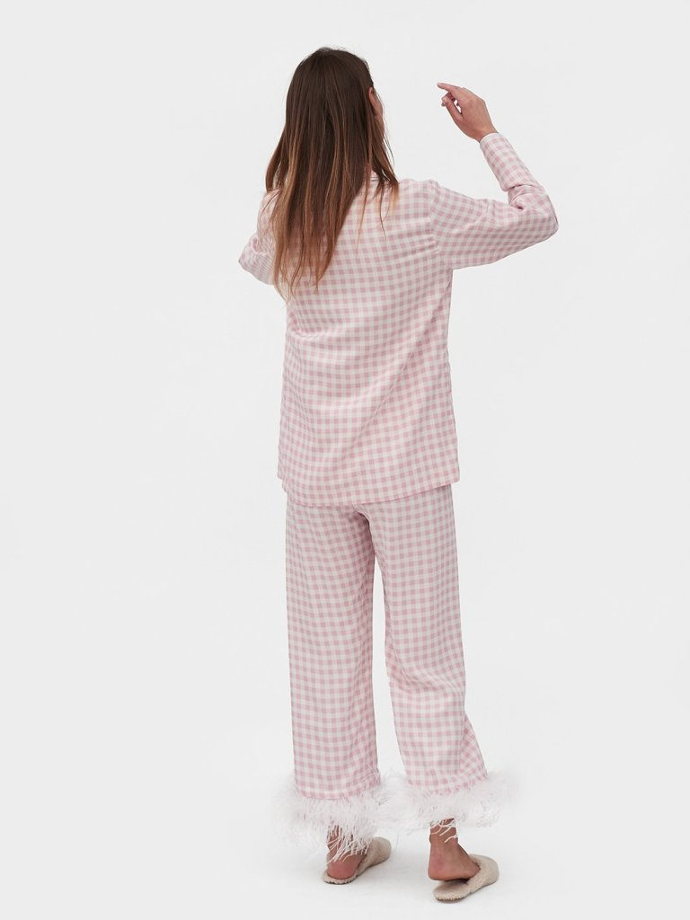 Sleeper-Party-Pyjamas-In-Pink-Gingham-With-Feathers-back view