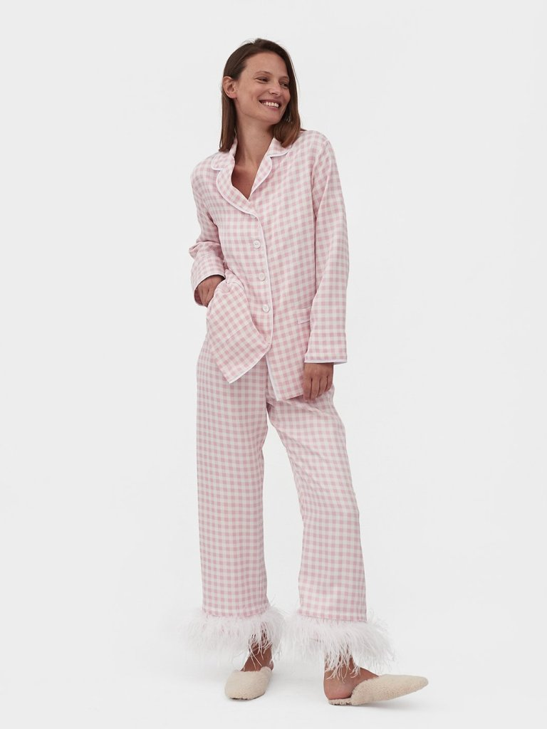 Sleeper-Party-Pyjamas-In-Pink-Gingham-With-Feathers-Model_1800x1800