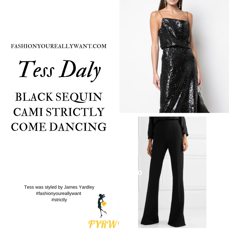 Tess Daly Wore This on Strictly Come Dancing Week 5 Results November 2020 where to get her outfits black sequin camisole black flared trousers