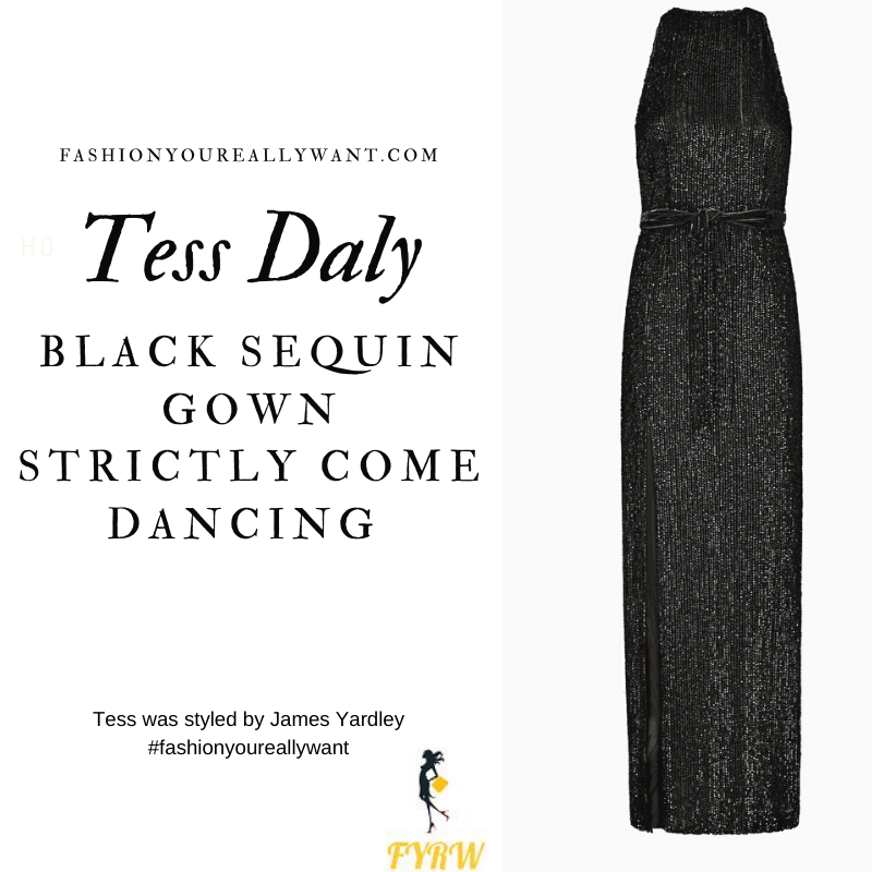 Tess Daly Wore This on Strictly Come Dancing Week 3 Results November 2020 where to get her outfits black sequin gown silver sandals