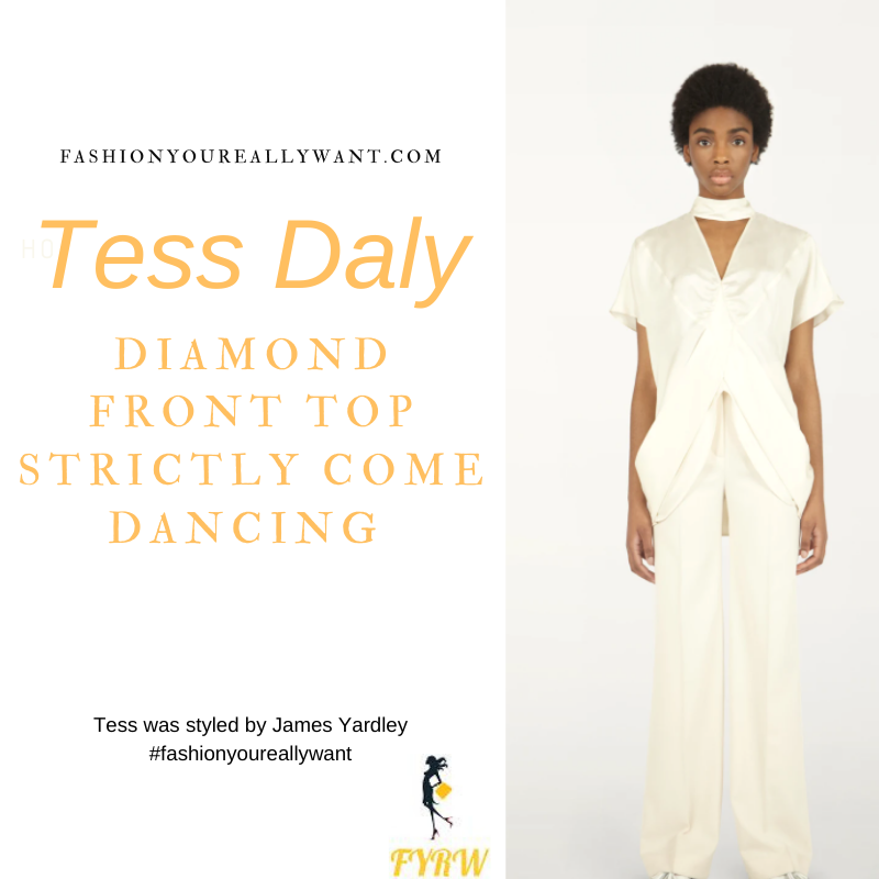 Tess Daly Wore This on Strictly Come Dancing Week 6 Results November 2020 where to get her outfits cream diamond front top cream trousers