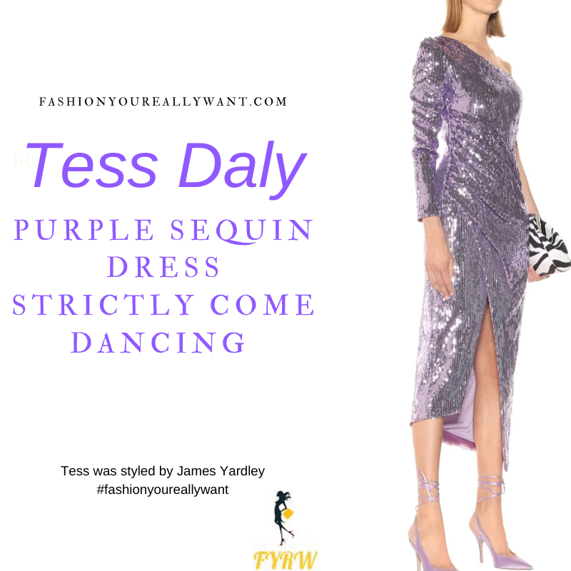 Tess Daly Wore This on Strictly Come Dancing Week 6 November 2020 where to get her outfits purple sequin one sleeve dress silver sandals