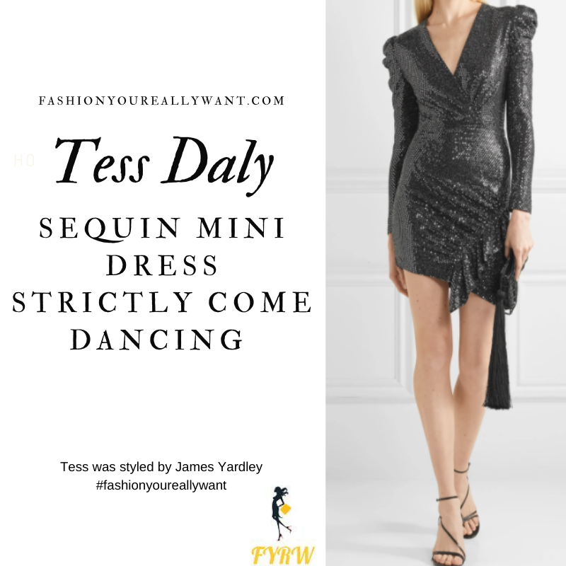 Tess Daly Wore This on Strictly Come Dancing Week 2 Results November 2020 where to get her outfits black sequin mini dress white studded sandals