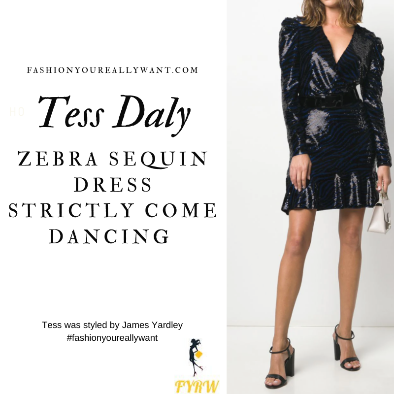 Tess Daly Wore This on Strictly Come Dancing Week 4 Results November 2020 where to get her outfits black and blue zebra sequin mini dress black sandals