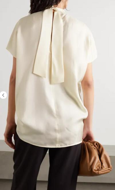 Victoria, Victoria Beckham Tie-neck cutout silk-satin blouse back view