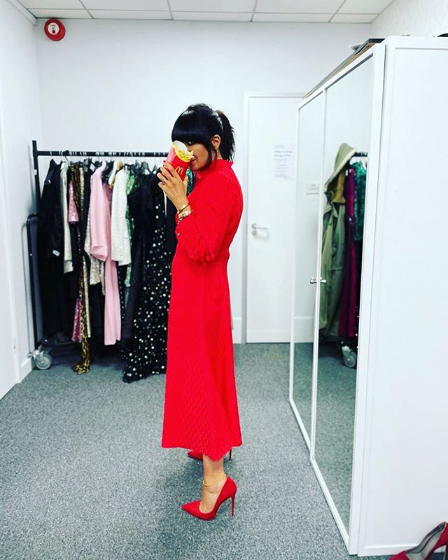 where to get all Claudia Winkleman Strictly dresses red midi dress 15 November 2020 Photo Claudia Winkleman