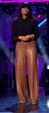 where to get all Claudia Winkleman strictly outfits gold brown sequin trousers black shiet 1 November 2020 Photo BBC