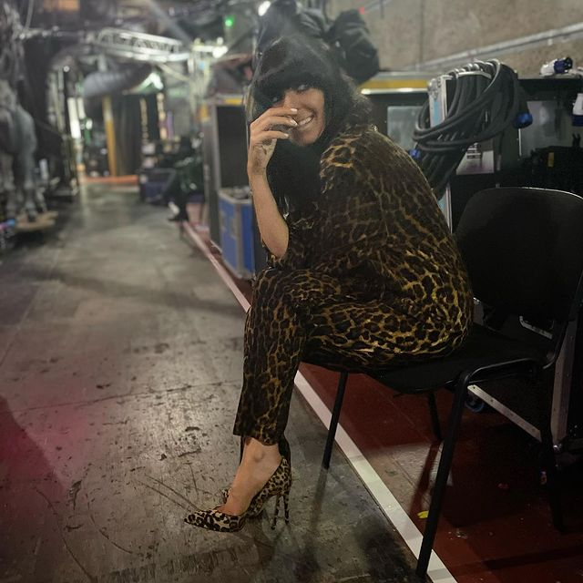 where to get all Claudia winkleman Strictly outfits leopard print jumpsuit leopard court shoes 21 November 2020 Photo Claudia Winkleman