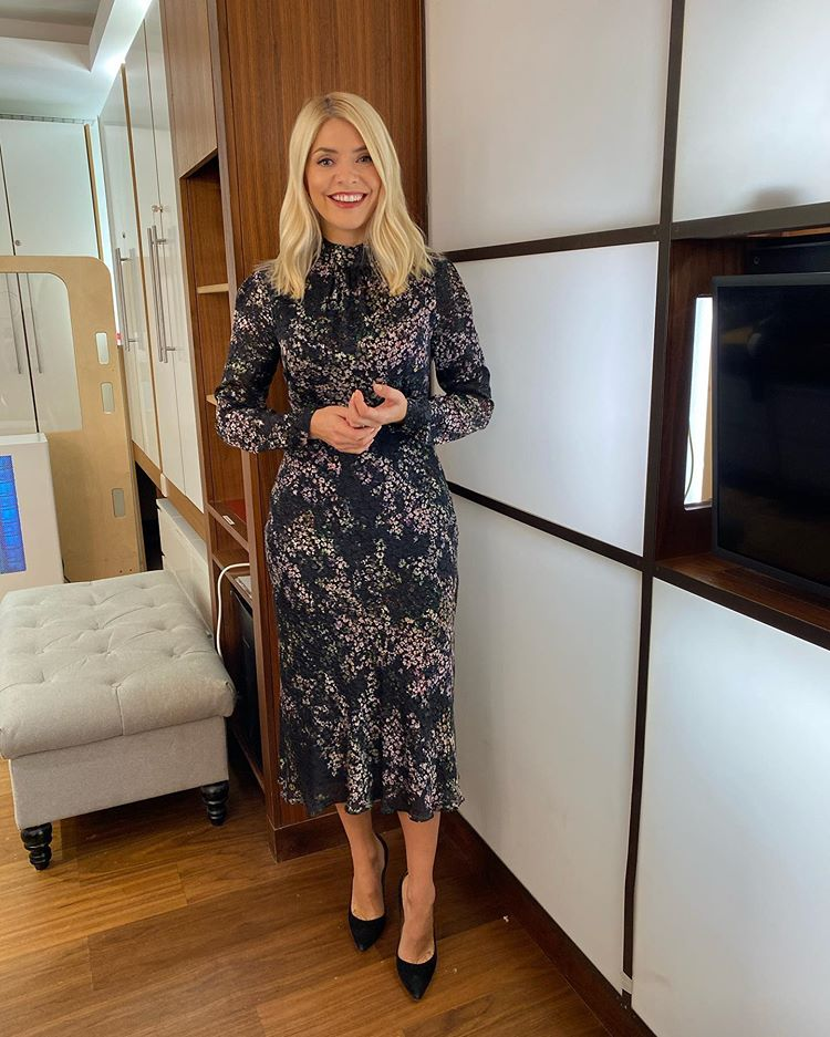 where to get all Holly Willoughby This Morning dresses black floral burnout dress black suede court shoes 5 November 2020 Photo Holly Willoughby