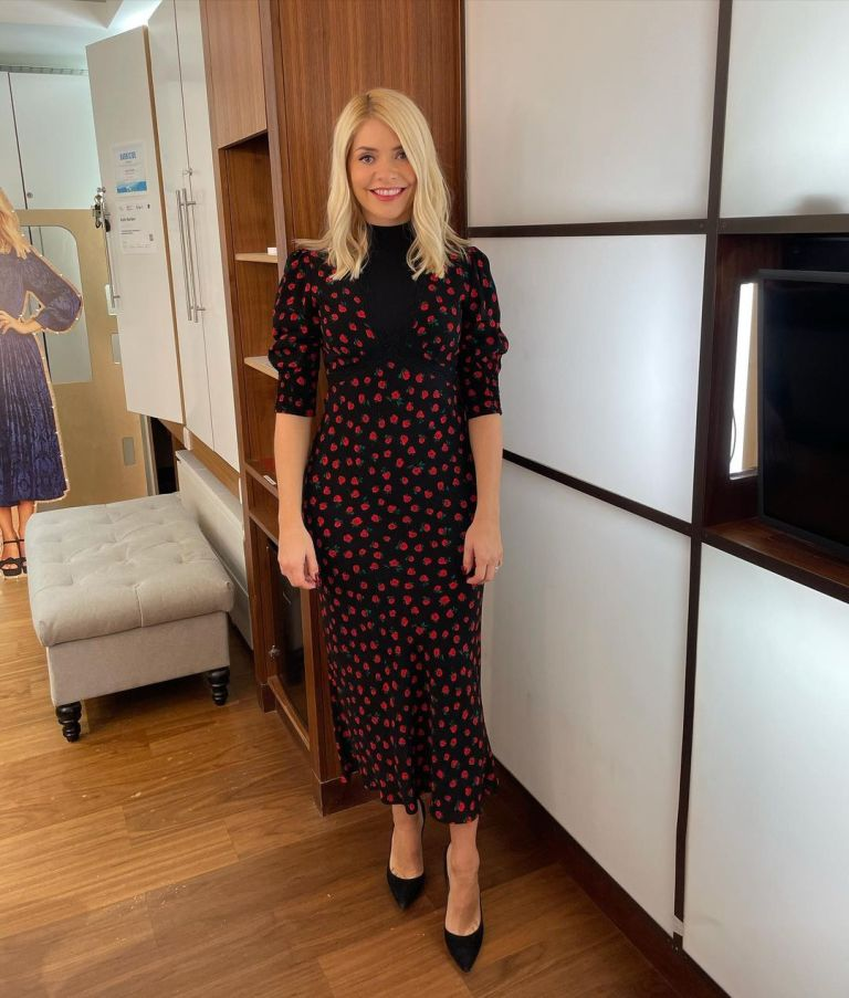 where to get all Holly Willoughby This Morning dresses black rose print dress black roll neck black court shoes 16 November 2020 Photo Holly Willoughby