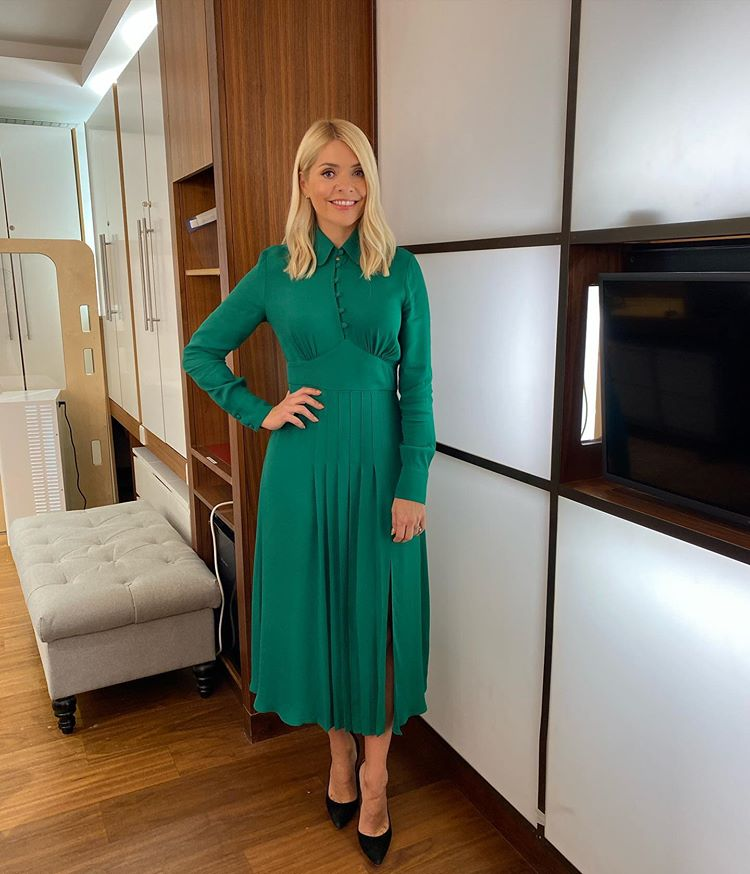 where to get all Holly Willoughby This morning dresses bottle green midi dress black suede court shoes 2 November 2020 Photo Holly Willoughby