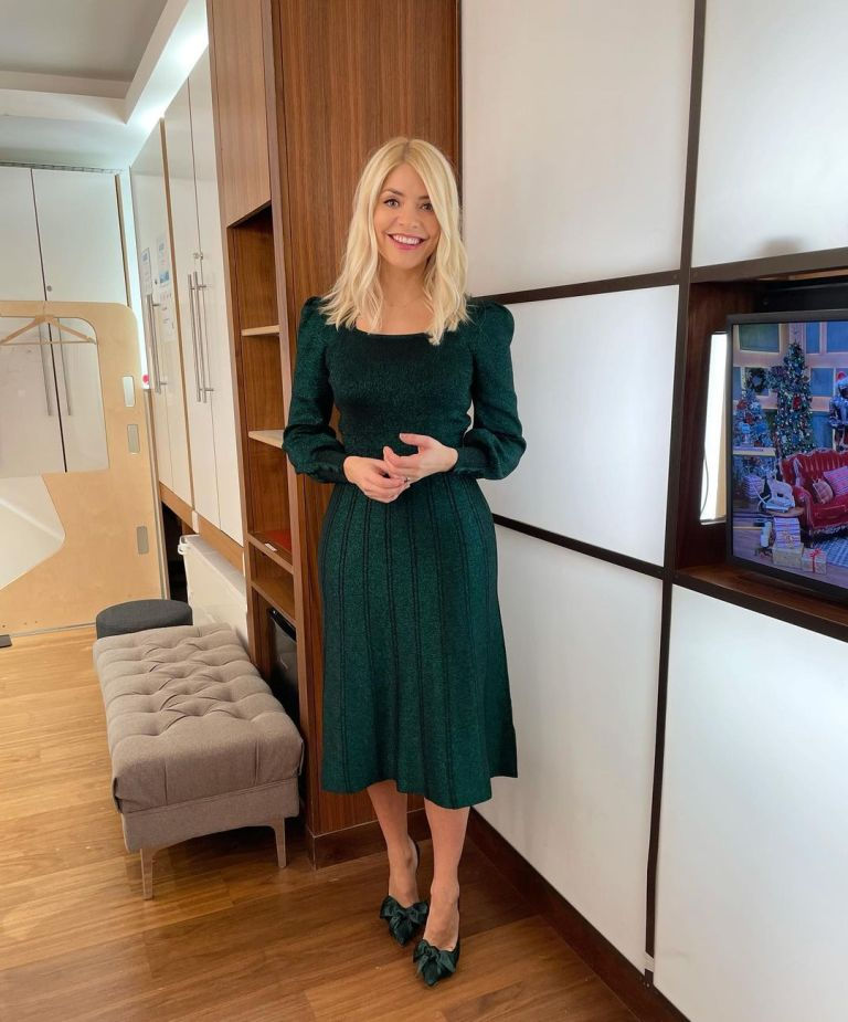where to get all Holly Willoughby This Morning dresses green square neck metallic dress shoes with bows 30 November 2020 Photo Holly Willoughby