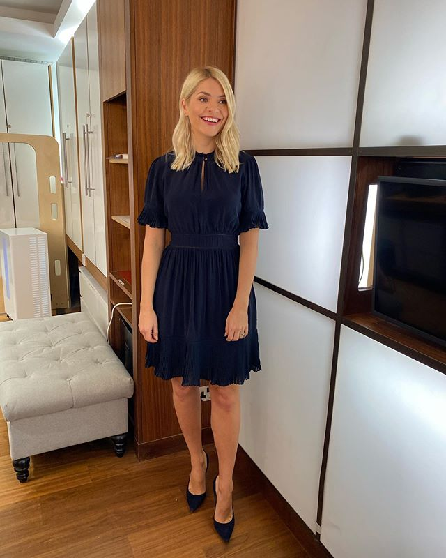 where to get all Holly Willoughby This Morning dresses navy pleated mini dress navy suede court shoes 3 November 2020 Photo Holly Willoughby