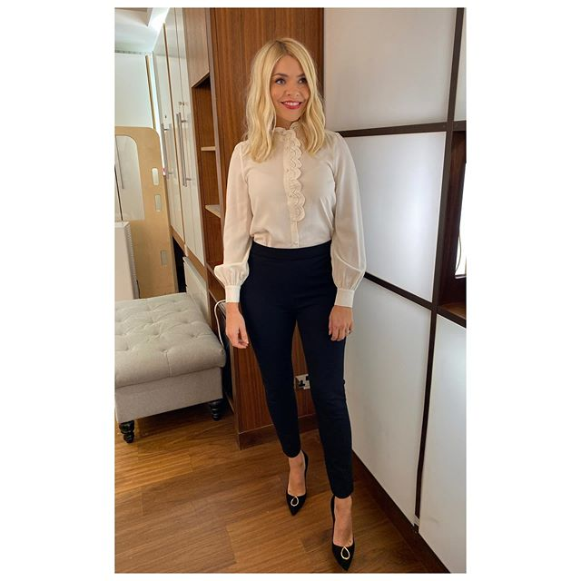 where to get all Holly Willoughby This Morning outfits cream embroidered shirt black trousers black court shoes with embellishmnet 4 November 2020 Photo Holly Willoughby