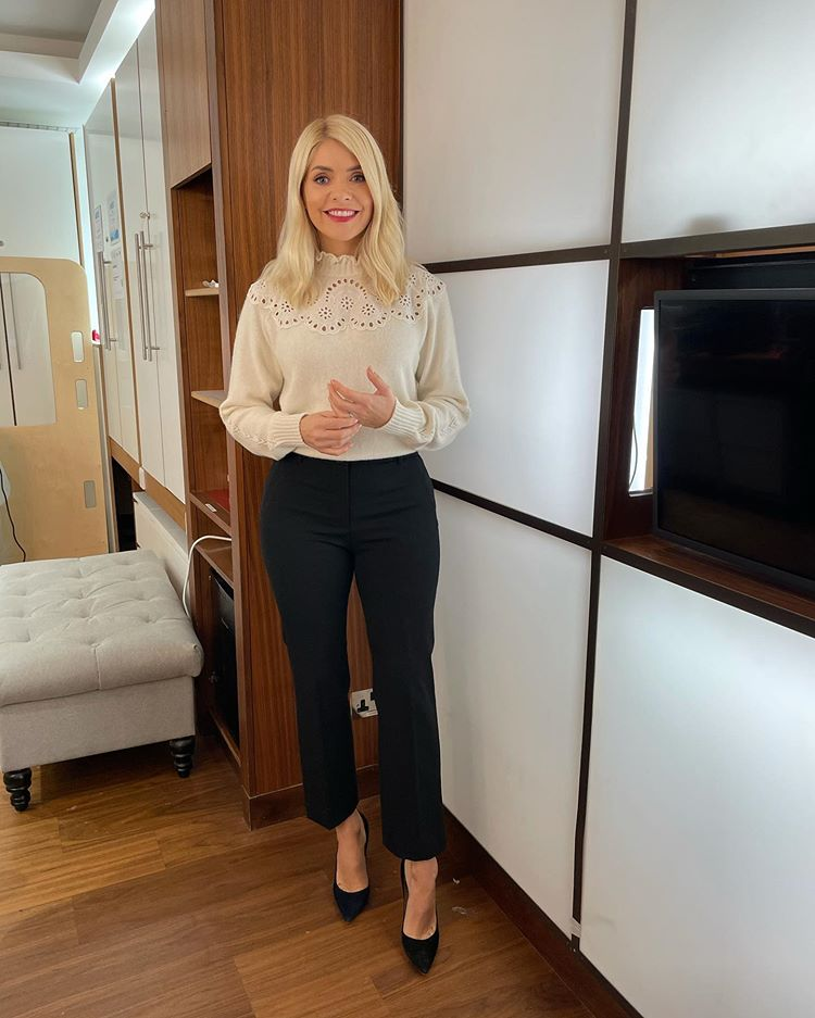 where to get all Holly Willoughby This Morning outfits whte scalloped sweater black cropped trousers 12 November 2020 Photo Holly Willoughby