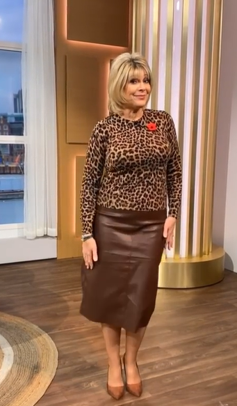 where to get all Ruth Langsford This Morning outfits animal print jumper faux brown leather skirt 6 November 2020 Photo Ruth Langsford