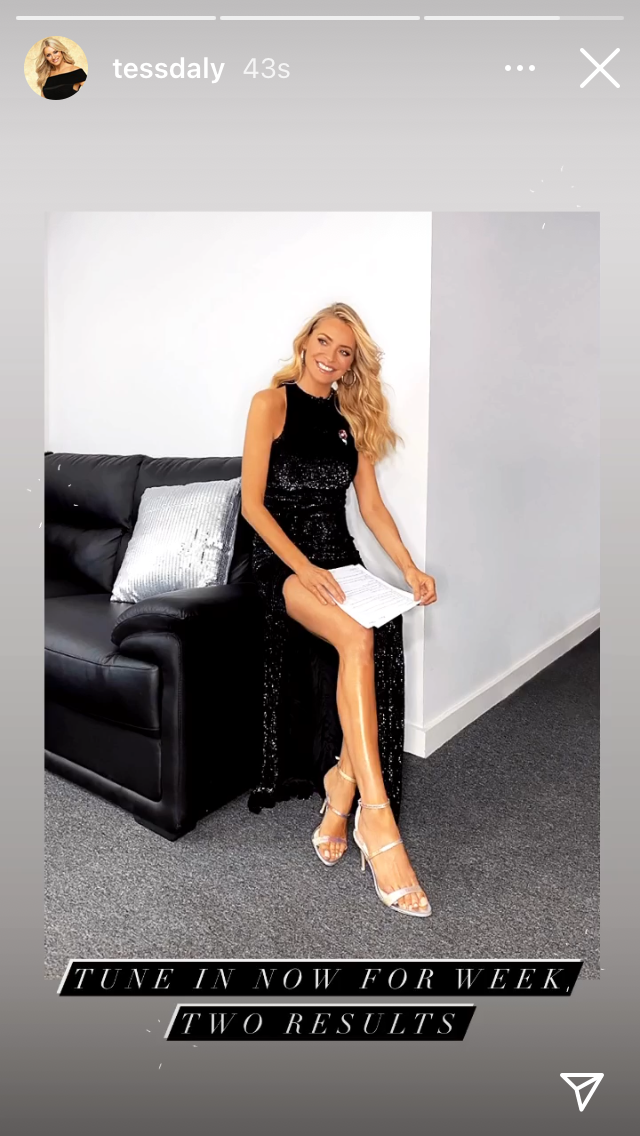 where to get all Tess Daly Strictly dresses black sequin halter gown silver sandals 8 November 2020 Photo Tess Daly