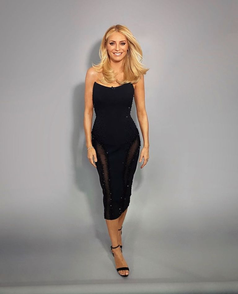 where to get all Tess Daly Strictly dresses black strappy dress with mesh inserts 21 November 2020 Photo James Yardley