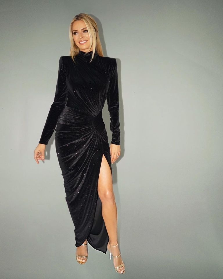 where to get all Tess Daly Strictly dresses black velvet crystal ruched gown gold sandals 14 November 2020 Photo James Yardley