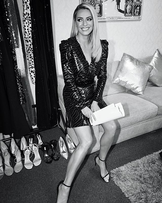 where to get all Tess Daly Strictly dresses blue and black zebra sequin mini dress 15 November 2020 Photo Tess Daly