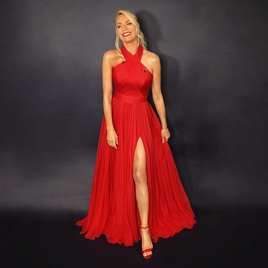 where to get all Tess Daly Strictly dresses red hallter gown 7 November 2020 Photo James Yardley