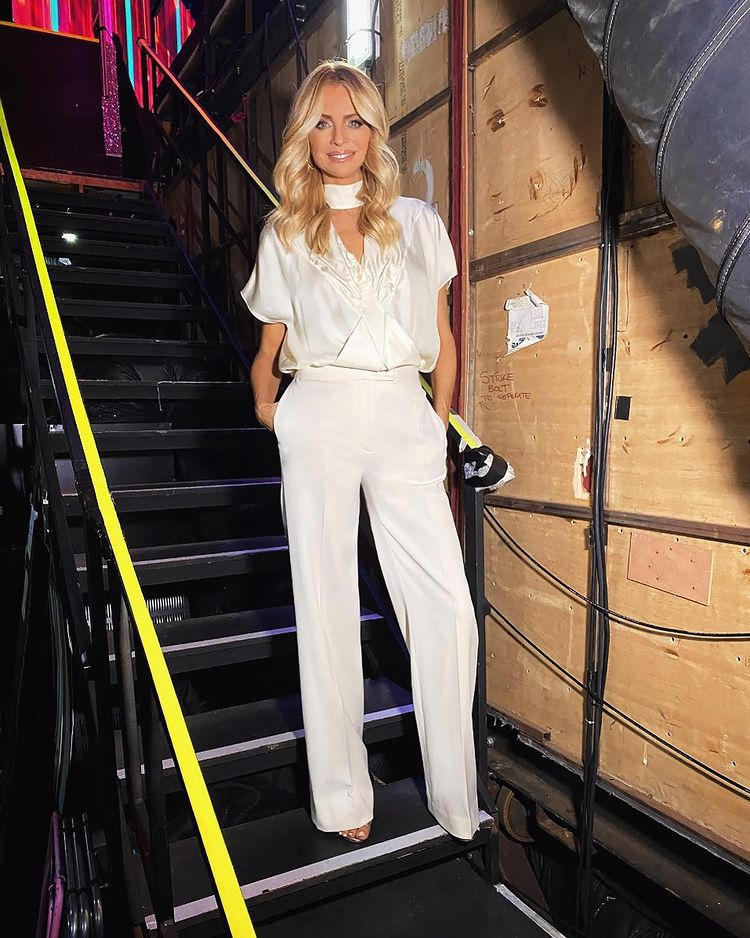 where to get all Tess Daly Strictly outfits cream diamond top cream trousers 29 November 2020 Photo James Yardley