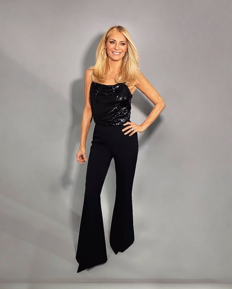 where to get all Tess Daly Strictly outfuts black sequin cami black flare trousers 22 November 2020 Photo James Yardley