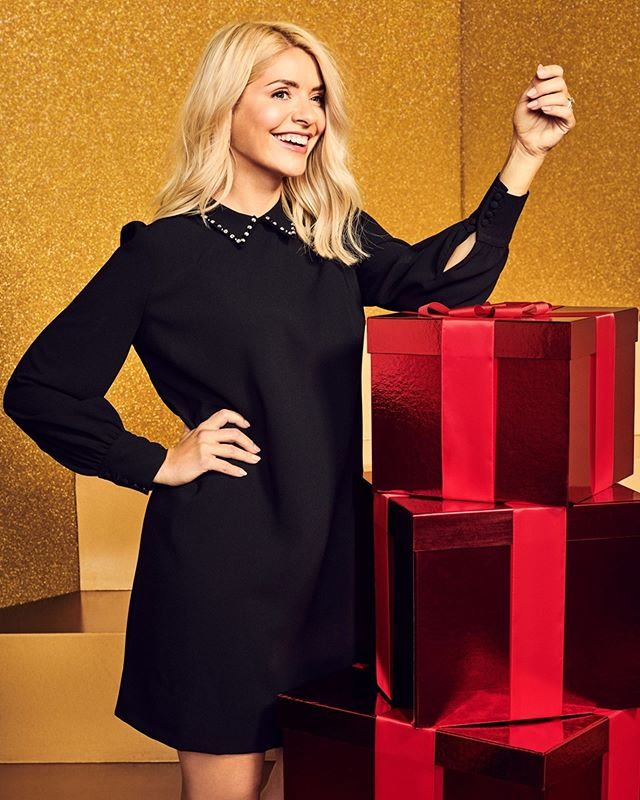 where to get Holly Willoughby black shift dress with diamante collar 7 November 2020 Photo M&S