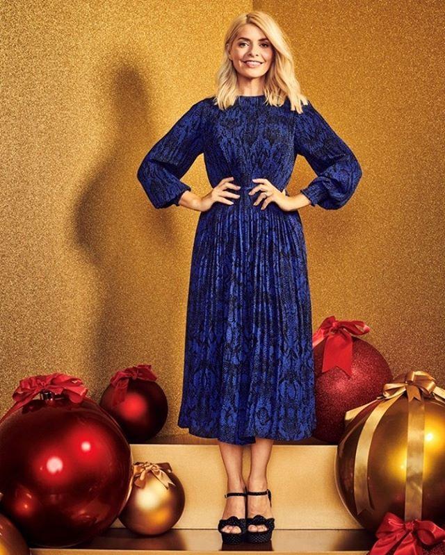 where to get Holly Willoughby blue animal print dress black velvet sandals 8 November 2020 Photo M&S