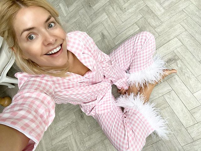 where to get Holly Willoughby pink gingham pyjamas feather trim 1 November 2020 Photo Holly Willoughby
