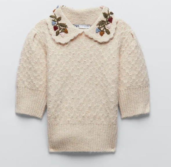 Zara Embroidered Knit Sweater