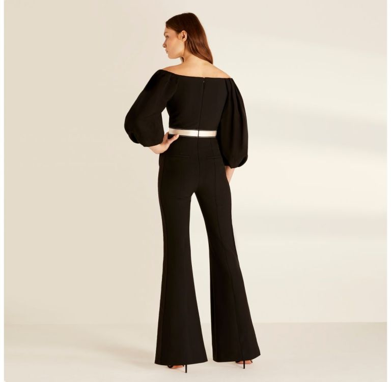 Amanda Wakeley Black Sculpted Tailoring & Cady Jumpsuit back view