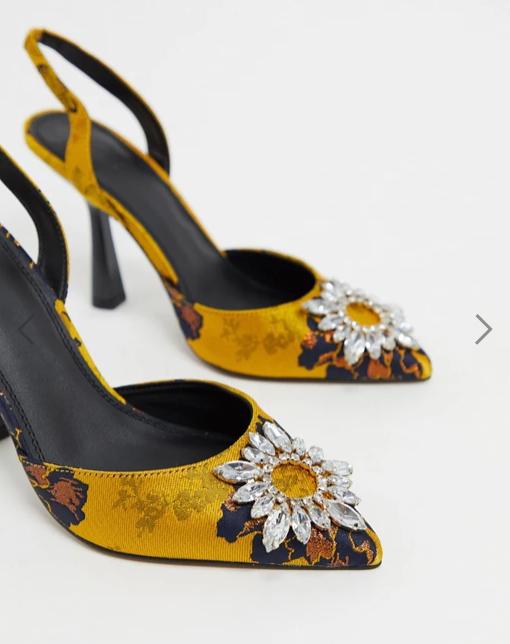 ASOS DESIGN Poetic embellished high heels in jacquard v2