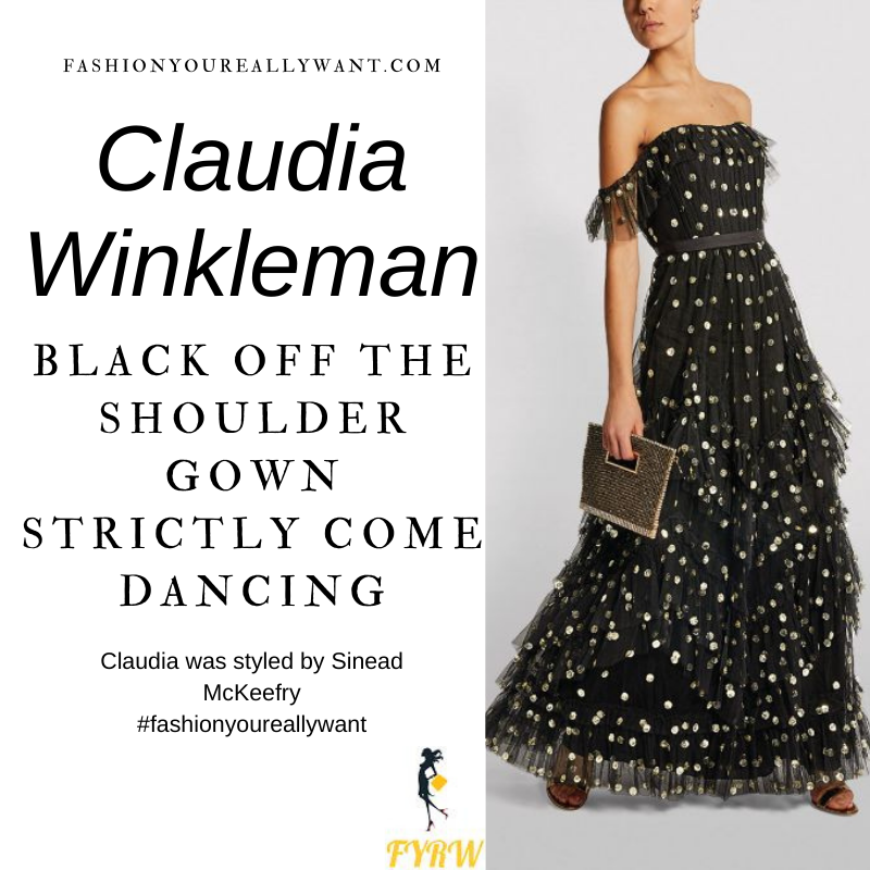 Claudia Winkleman Wore This on Strictly Come Dancing Final December 2020 where to get her outfits black off the shoulder tulle tiered dress gold sequins