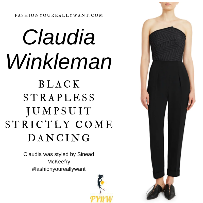 Claudia Winkleman Wore This on Strictly Come Dancing Semi Finals December 2020 where to get her outfits strapless black jumpsuit pink court shoes