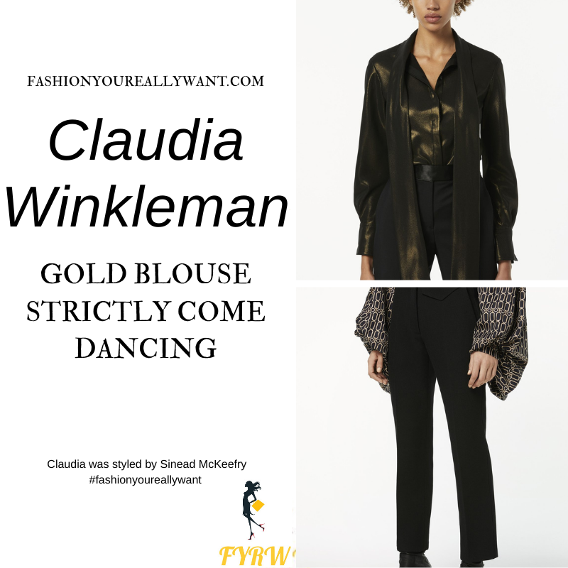 Claudia Winkleman Wore This on Strictly Come Dancing Week 7 Results December 2020 where to get her outfits gold tie neck blouse black trousers