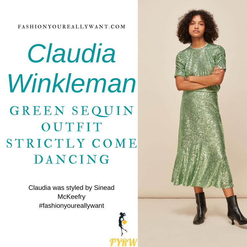 Claudia Winkleman Wore This on Strictly Come Dancing Christmas Special December 2020 where to get her outfits green sequin top and midi skirt