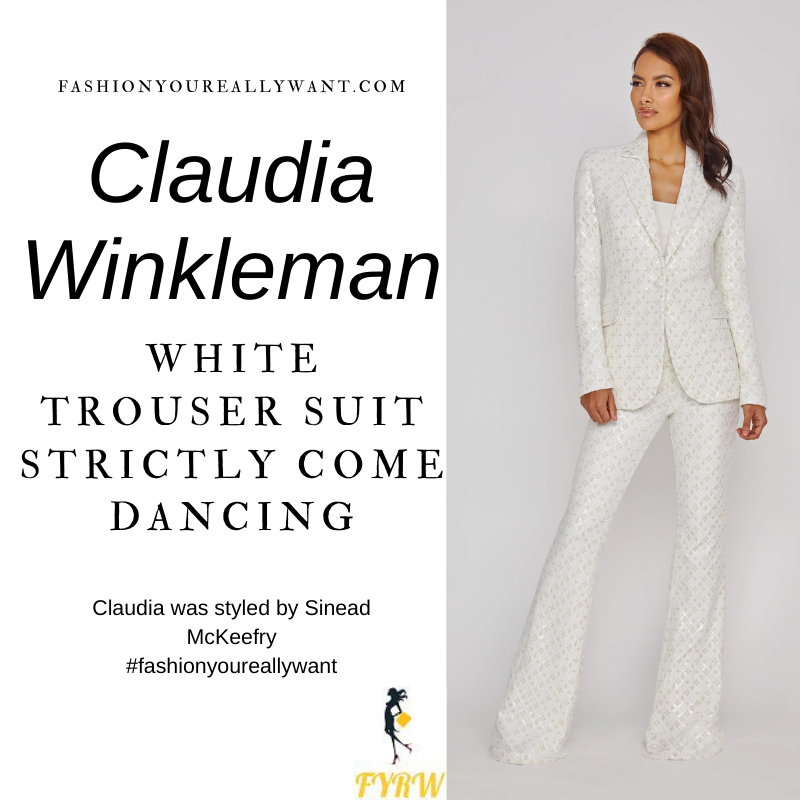 Claudia Winkleman Wore This on Strictly Come Dancing Week 7 December 2020 where to get her outfits white sequin velvet trouser suit
