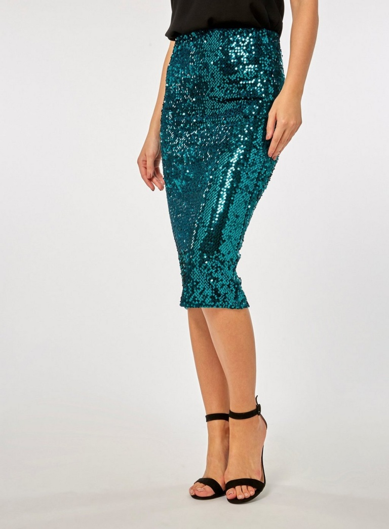 Dorothy Perkins Teal Velvet Sequin Pencil Skirt