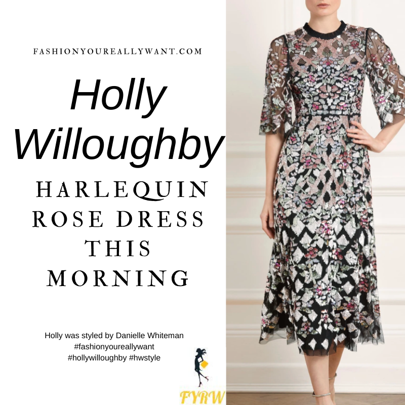 Where to get all Holly Willoughby This Morning outfits blog December 2020 black harlequin rose sequin midi dress black suede court shoes